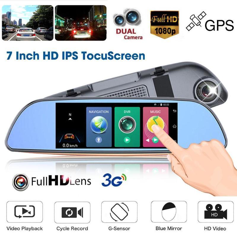 1 pièces 7 Pouces Bluetooth 3G WiFi Android De Voiture Auto rétroviseur gps enregistreur numérique Dash Cam DVR Dash Caméra Anglais Utilisateur manuel gps module