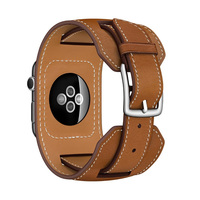 FOHUAS Luxury Extra Long Genuine Leather Band Double Tour Bracelet Leather Strap Watchband For Apple Watch