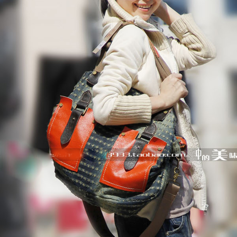 women big casual handbags denim messenger bags multi pocket punk bag large capacity FASHION shoulder bag