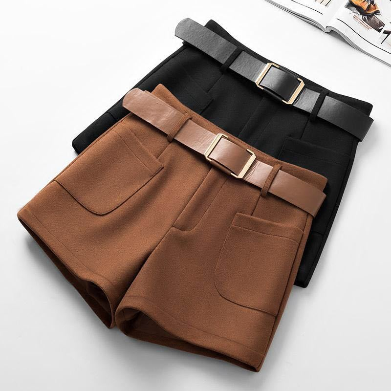 Woolen Shorts Women Autumn Winter Wide Leg Mini Shorts Feminino Autumn Booty Shorts With Belt Pockets Short Feminino