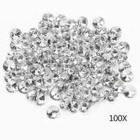 100pcs 25MM Clear Faceted Glass Crystal Diamante Rhinestone Silver Buttons BDF99