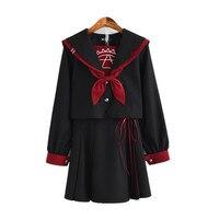 Japanese Student Uniform Sweet College School Jk Embroidery Sailor Suit Lolita Skirt Suits Long Sleeve Bowtie Shirt Skirt Sets