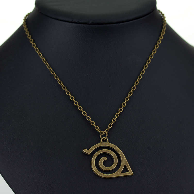 Hot Anime Naruto Necklace Fashion Ancient Bronze Hidden Leaf Village Symbol Pendant Necklaces For Fans Jewelry Accessories G