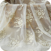 5yards/lot off white beautiful three-dimensional flower embroidery lace fabric skirt/clothes lace fabric