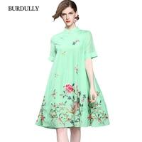 BURDULLY Vestidos de Estilo Chino de La Vendimia Para Las Mujeres Del Verano 2018 Nueva Buena calidad del Algodón de Lino Suelta Vestido de Flores Bordado Diseños
