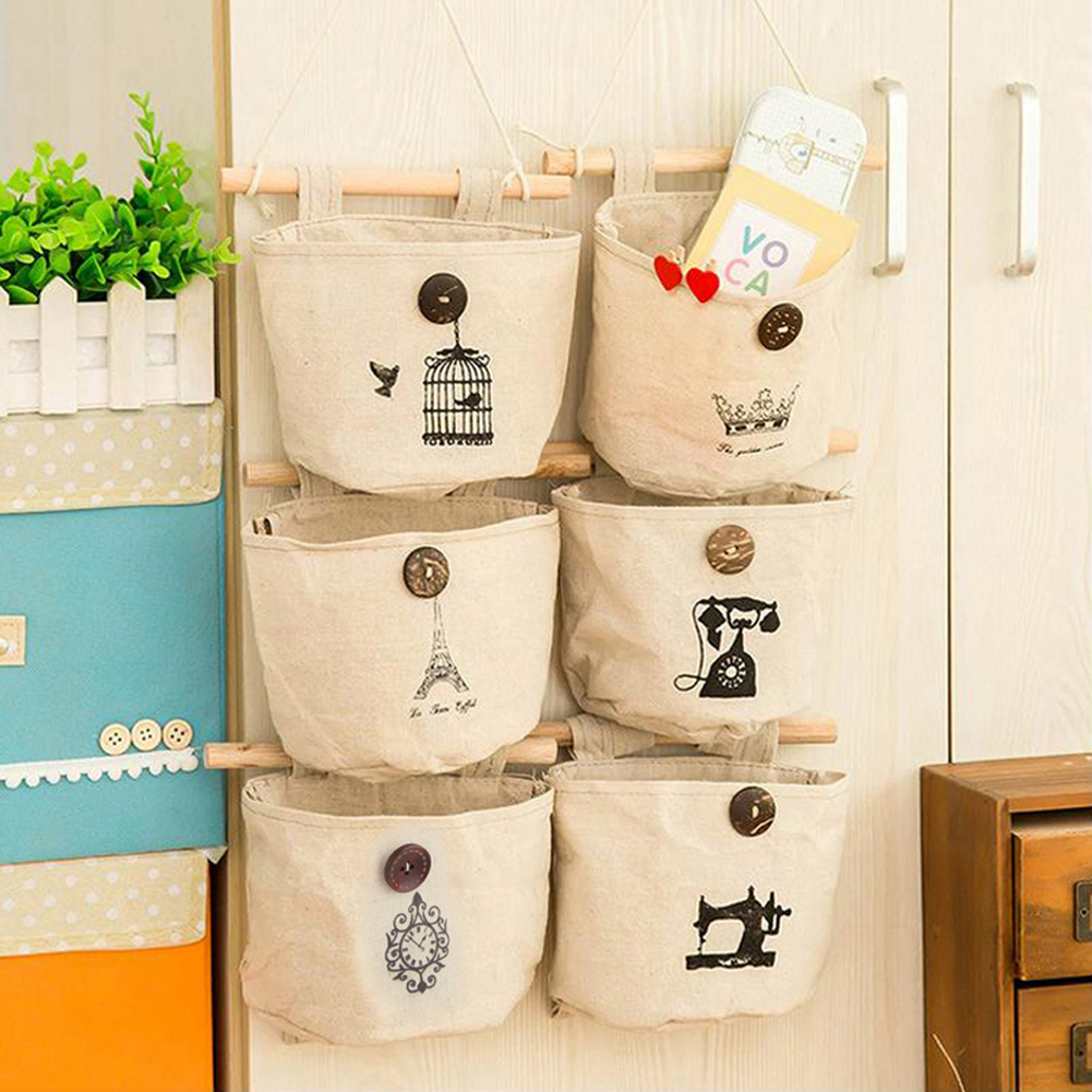 6 Styles Wall Sundry Fabric Cotton Storage Bags Hanging Pocket Holder Rack Home Organization Storage Box