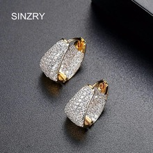 SINZRY NEW 2018 Clear white cubic zironia circle earrings lady trendy brilliant party vintage earring for women