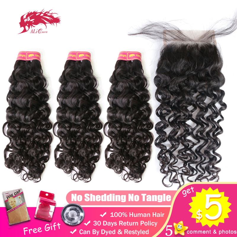 Ali Queen Brazilian Water Wave Virgin 100% Human Hair 3 Bundles With 4*4 Swiss Lace Closure Free Part Pre-Plucked Hairline
