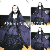 Freeshipping!1800S Blue satin Civil War Southern Belle Ball Gown Victorian dresses/scarlett dress Sz US6 26 V 227