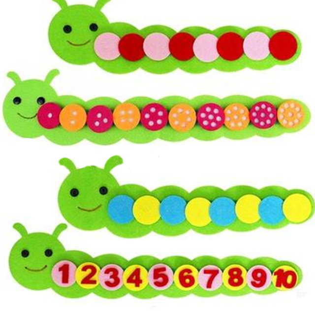 Montessori juguetes de matemáticas niños Juego de clasificación de colores enseñanza de Kindergarten Manual DIY tejido tela educación temprana juguetes para niños