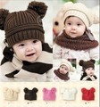 Retail autumn and winter Double ball infant knitted winter hat kids crochet beanie cap
