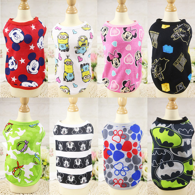 Pet Dog Vest Summer Cotton Clothes Puppy Shirts T Shirt Cat Vests Cartoon Costume Clothing For Small Dog Chihuahua Pug Yorkie