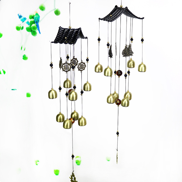 Black Hanging Handicraft Metal Wind Bell Wind Chime Ornament for Trees Door ONE