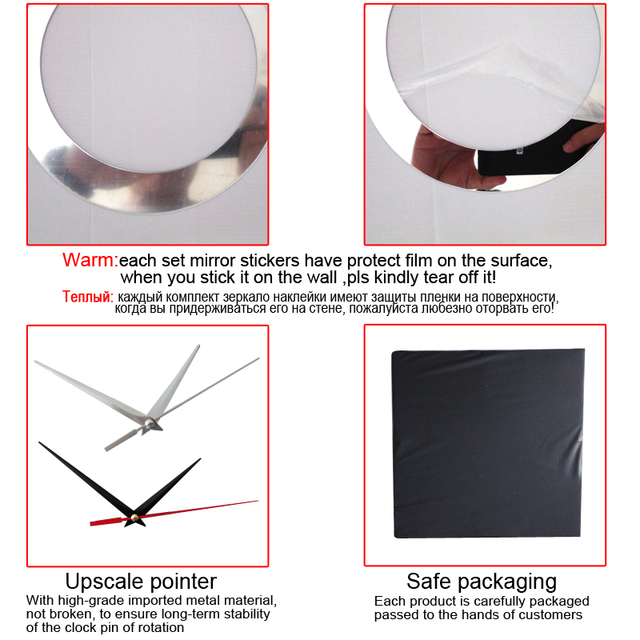 2017 new promotion real home decoration mirror watch wall clock clocks living room modern 3d quartz needle acrylic free shipping