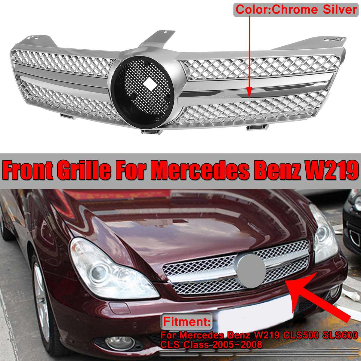 New Chrome Grille Car Front Grille Bumper Grill For Mercedes For Benz W219 CLS500 SLS600 CLS Class 2005-2008 Without EmblemNew Chrome Grille Car Front Grille Bumper Grill For Mercedes For Benz W219 CLS500 SLS600 CLS Class 2005-2008 Without Emblem