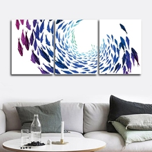 Shoal of fish Nordic Wall Pictures Poster Print Canvas Painting Calligraphy Decor for Living Room Bedroom Home Frameless