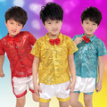 Child Male Paillette Modern Sequin Dance Costume Jazz Dance Costume Groups chorus clothing Boys Hosted Suits