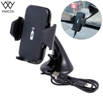 Soporte de coche XMXCZKJ cargador de coche inalámbrico rápido soporte de ventosa 2 en 1 cargador inalámbrico soporte de teléfono móvil para iPhone X 8 8Plus