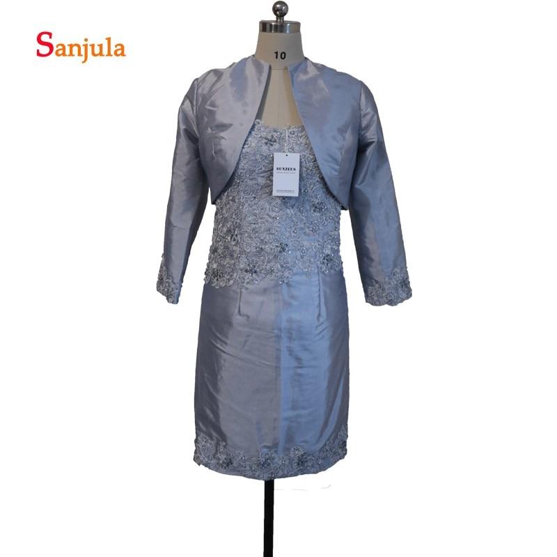 Серый мать невесты платья с курткой тафта аппликации из бисера Короткие Вечерние платья Свадебная вечеринка платья abendkleider D57
