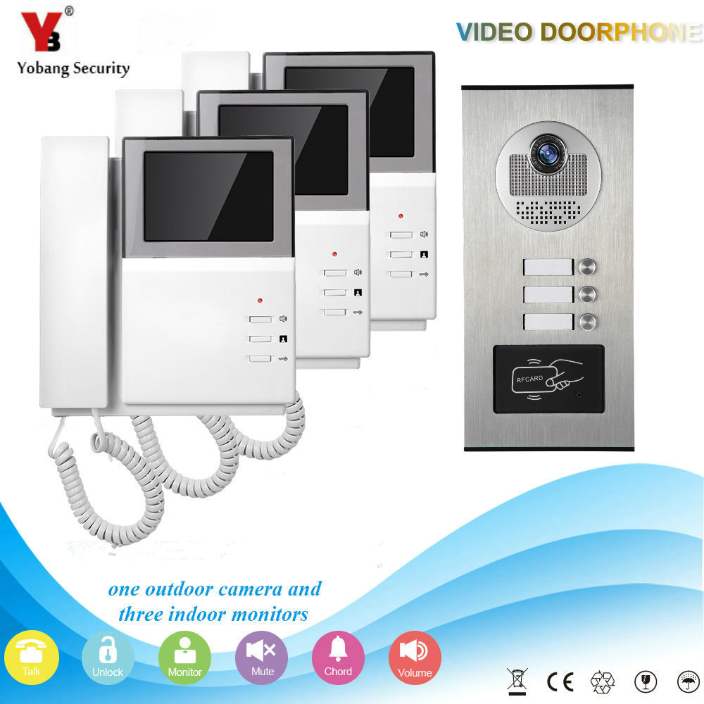 Yobang Security 3 Unit Apartment Video Intercom 4.3 Inch Video Door Phone Doorbell Intercom System RFID Access Door Camera все цены