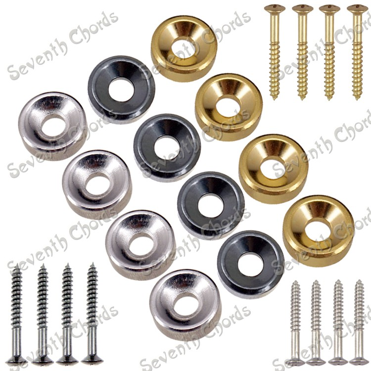 only 4x Gold Guitar Neck Bolt Ferrules ships from USA