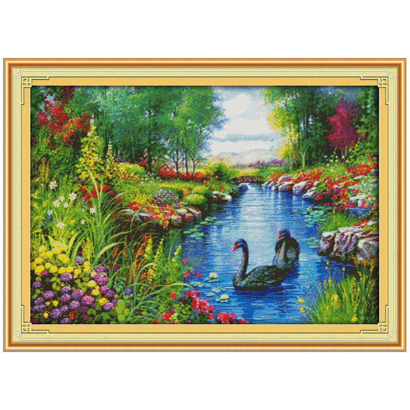 The Peaceful Landscape Counted Cross Stitch 11CT 14CT Cross Stitch Set Wholesale Swan Cross-stitch Kit Embroidery NeedleworkThe Peaceful Landscape Counted Cross Stitch 11CT 14CT Cross Stitch Set Wholesale Swan Cross-stitch Kit Embroidery Needlework
