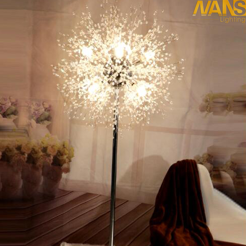 NANS New Modern Crystal Stand Floor Lamps Simple warm led Floor Lamp For Living Room Folding Standing Lamp Lambader Stehlampe modern wooden floor lamps bookshelf floor stand lights tea table standing lamp living room bedroom locker nightstand lighting