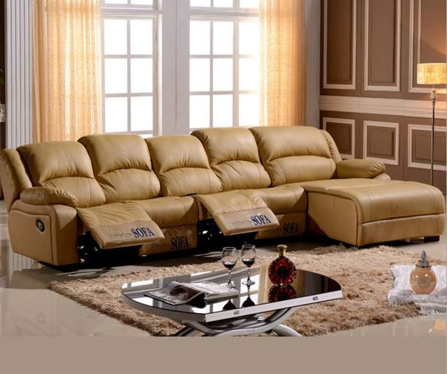 US $1424.05 5% OFF|living room sofa Recliner Sofa, cow Genuine Leather  Sofa, Cinema 4 seater+coffee table+chaise sectional L shape home  furniture-in ...