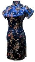 Free Shipping New Fashionable Qipao Plum Blossom Print Silk Dress Short Cheongsam Chinese Dress Qipao Wedding