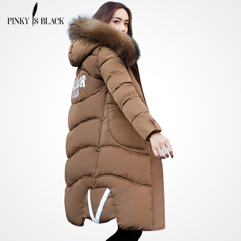 Pinky Is Black 2017 New Winter Women Jacket Large Fur Collar Hooded Woman Parkas Plus Size Womens Coats Thicken Jacket Outwear calvin klein new black white colorblock womens size large l crewneck sweater $79
