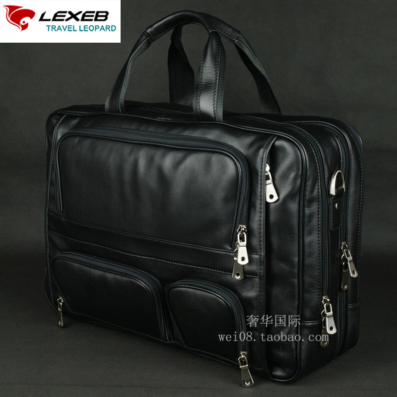 LEXEB Brand Men's Leather Briefcase 17 Laptop Large Capacity Business Travel Bags 44.5 CM With Double Zippers Open Black