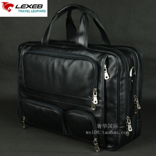 LEXEB Brand Men's Leather Briefcase 17″ Laptop Large Capacity Business Travel Bags 44.5 CM With Double Zippers Open Black