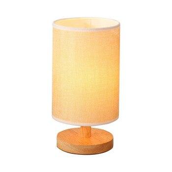 Bdbqbl Orisinalitas Modern Sederhana Lampu Meja Kain Seni Silinder Lampu Meja AC 110v-240 Kamar Tidur Ruang Tamu Lampu LED Lampu