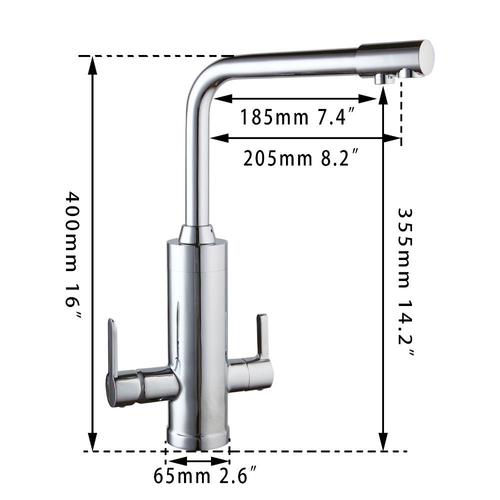 NEW Kitchen Faucet In Polished Chrome Finish Water Saving Water purifier Swivel Dual Handle Mixer Tap Stylish Sink Faucets цена и фото