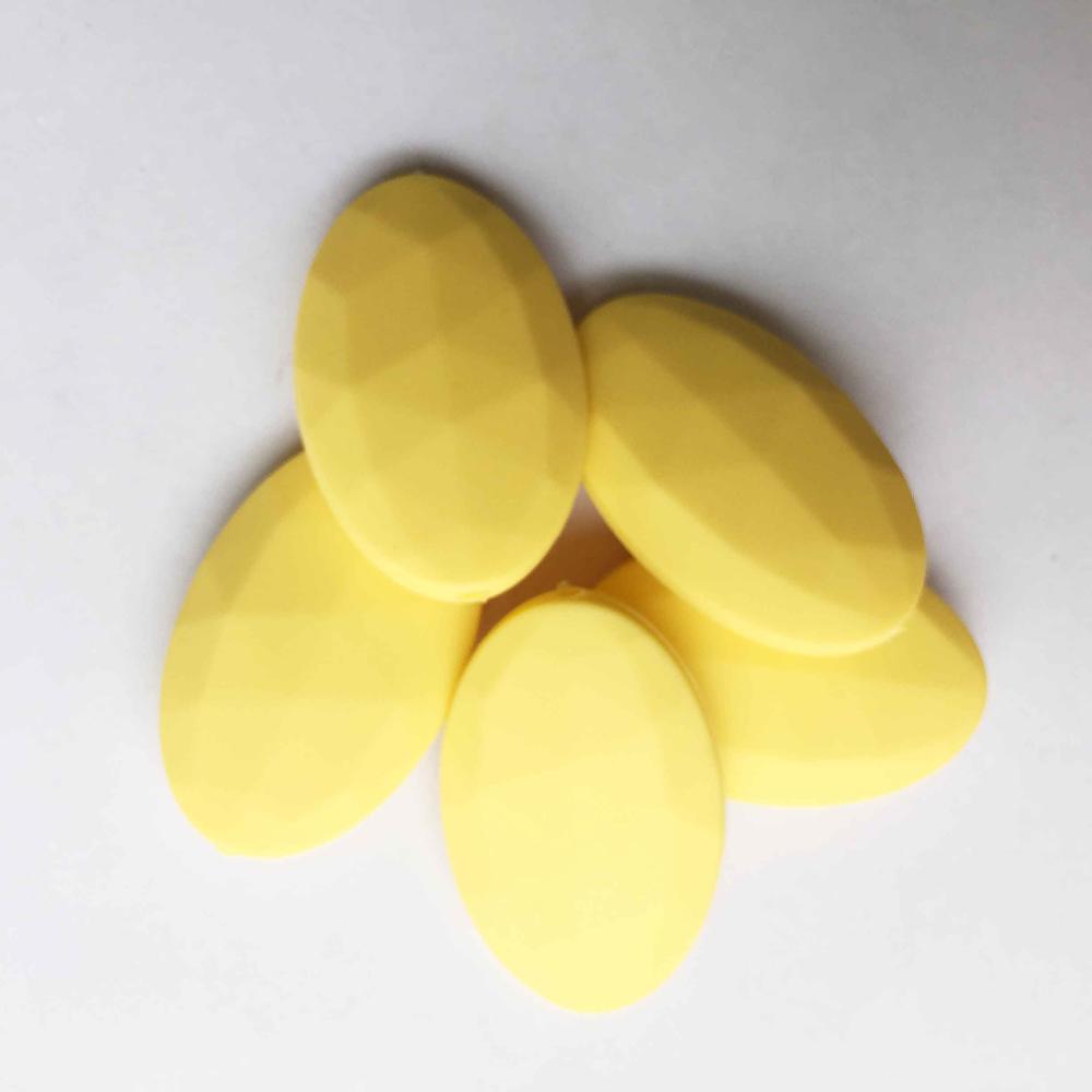 50 шт./лот плоские овальные свободные силиконовые Бусины для прорезывания зубов Цепочки и ожерелья силиконовые свободные Бусины для маленьких прорезыватель BPA бесплатно 19 цвет - Цвет: Цвет: желтый