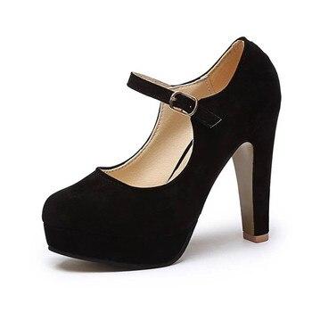 2019 Sexy Mary Janes Novas Mulheres OL sapatos de salto alto Rebanho Preto Mulheres Bombas Plataforma Feminina Inverno Grosso com Outono Rodada Sapatos Único 1