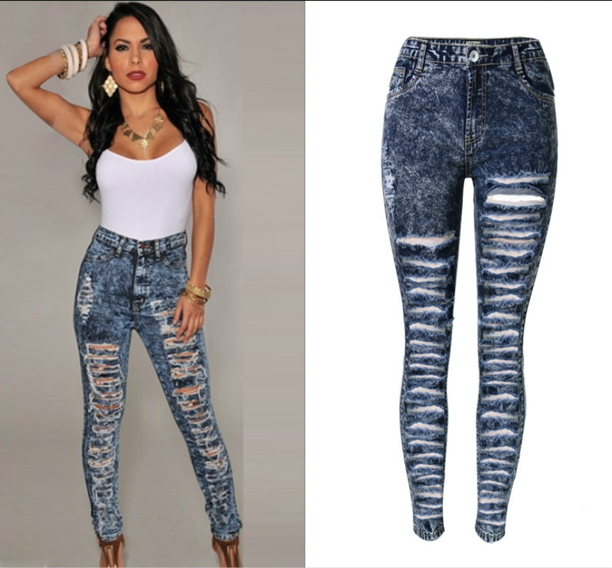 cf7e826e12d Bohemian Hollow Out Hole Torn Ripped Jeans Women High Waist Snow Blue  Skinny Jeans Mujer Push Up Sexy Hole Pantalon Femme 2017 - Boho Gipsy Store