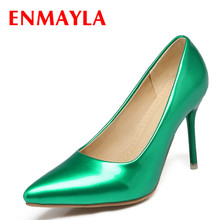 ENMAYLA Spring  Women Fashion Green High Heels Pumps Pointed Toe Shoes Solid Color 2017 Office Lady Clud