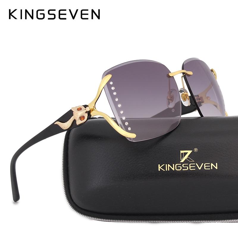 Kingseeven Элегантный женский Солнцезащитные очки для женщин большой кадр лиса оформлены с бриллиантом украшения Брендовая Дизайнерская обувь ... ...