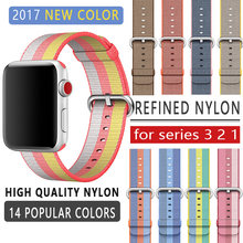 FOHUAS correa de 42mm para apple watch series 3 2 1 correa de nailon tejida tipo correa de fieltro para iWatch hebilla clásica de patrón colorido(China)