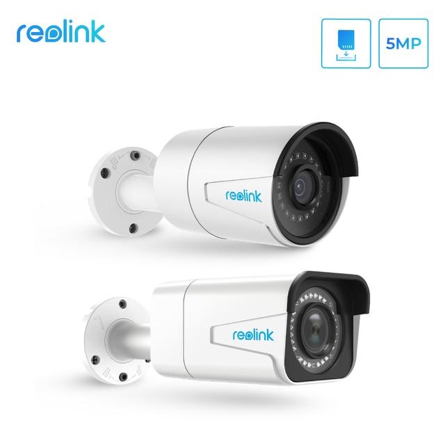 Reolink ensemble de caméra de sécurité intérieure et extérieure hd, ip PoE 5MP, zoom extérieur, fente pour carte SD intégrée, IP66, protocole P2P H.264 RLC 410 et 511