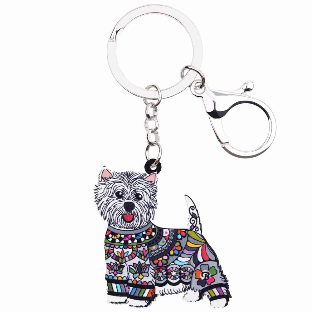 Weveni акриловые в стиле аниме ювелирные изделия West Highland белый терьер брелок для женщин девушка сумка ключи Сумочка Кошелек талисманы брелки подарок