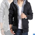 2013 Winter plus velvet thickening sweater with a hood cardigan men's knitted sweater outerwear N890