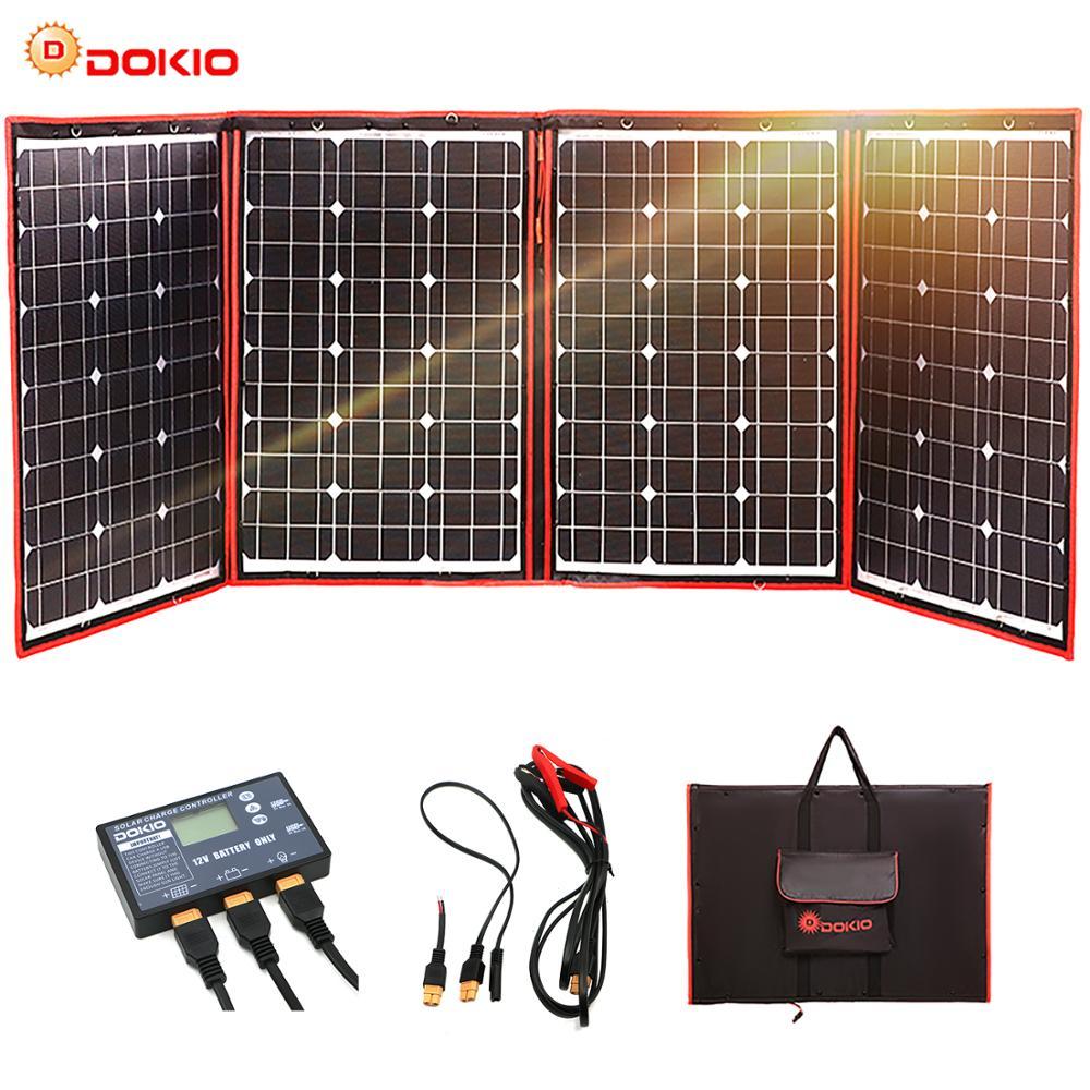 Dokio 200 w (50 w * 4) painel solar 12 v/18 v flexível foldble painel solar usb portátil célula solar kit para barcos/fora-porta de acampamento