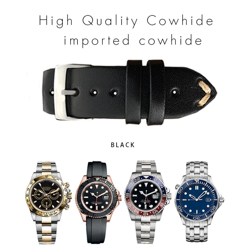 22mm 20mm Universal Vintage Calf Leather For Rolex_watch Watchband for Omega Watch Strap for Sub Bracelet Retrol Colorful Man lige horloge 2017