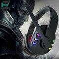Jogo de Fone De Ouvido Estéreo de Graves profundos Cercado Over-Ear headband glowing Gaming Headset com Mic USB Led controle de Volume Para PC Gamer