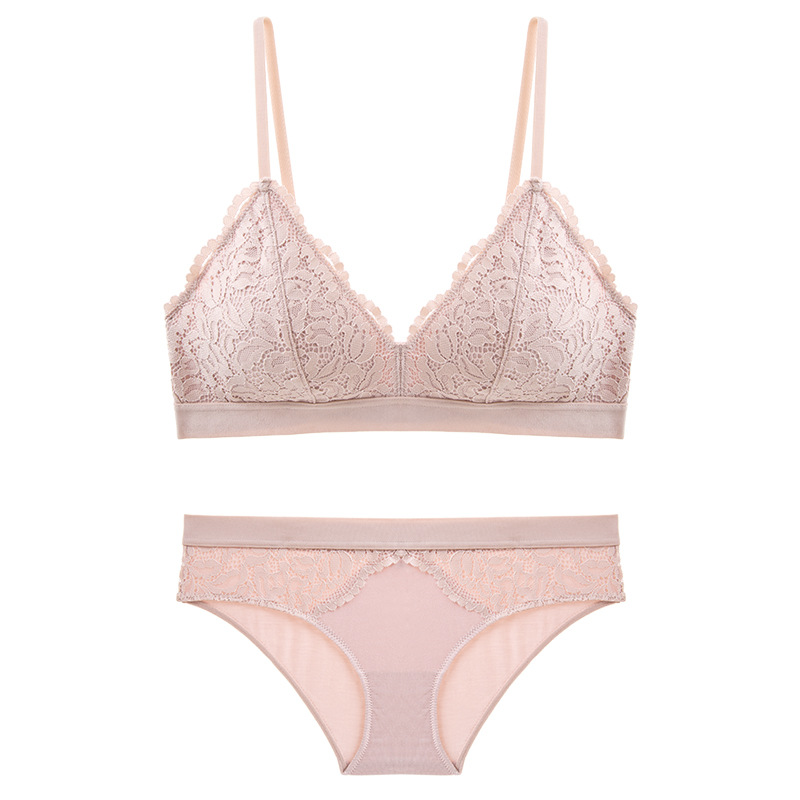 New Young Girl Seamless Vest Bra Set High Quality Underwear Set Sexy Lace Lingerie Cotton panties and bra set pink vs intimates