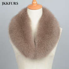 Women Real Fox Fur Scarves Winter Thick Warm Fashion Natural Genuine Muffler Solid Coat Shawls Lining 75cm S7102
