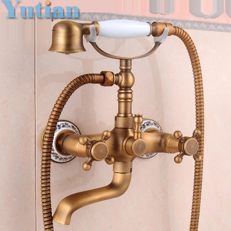 Free shipping Bathroom Bath Wall Mounted Hand Held Antique Brass Shower  Head Kit Shower Faucet Sets. Popular Shower Bath Kit Buy Cheap Shower Bath Kit lots from China