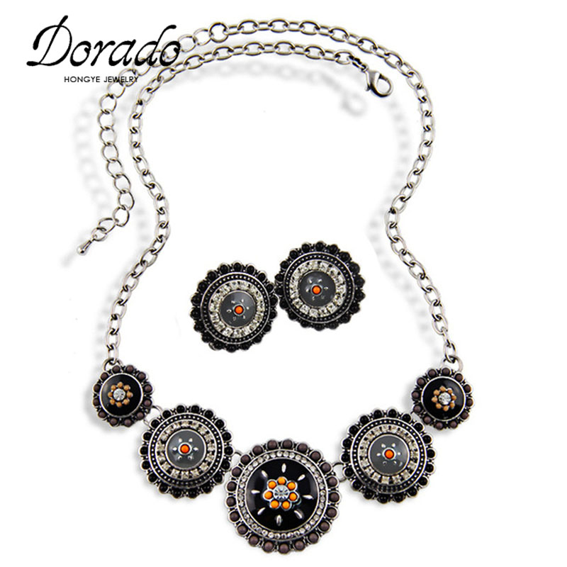 Bohemia Jewelry Set Vintage Silver Color Link Black Enamel Beads Necklace Earrings Wedding Jewelry Sets